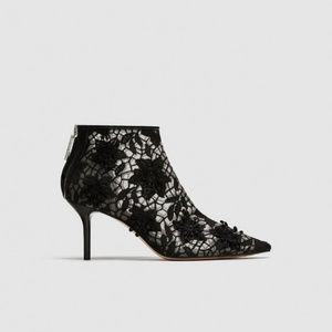 Zara NWT black lace kitten heel ankle booties 7.5